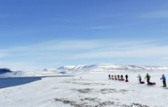 cross country skiing expedition through the winter wilderness of Spitzbergen